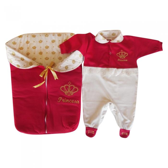 Saída de Maternidade Princesa Luxo Vermelha C  Porta Bebê  d3246c3ec94