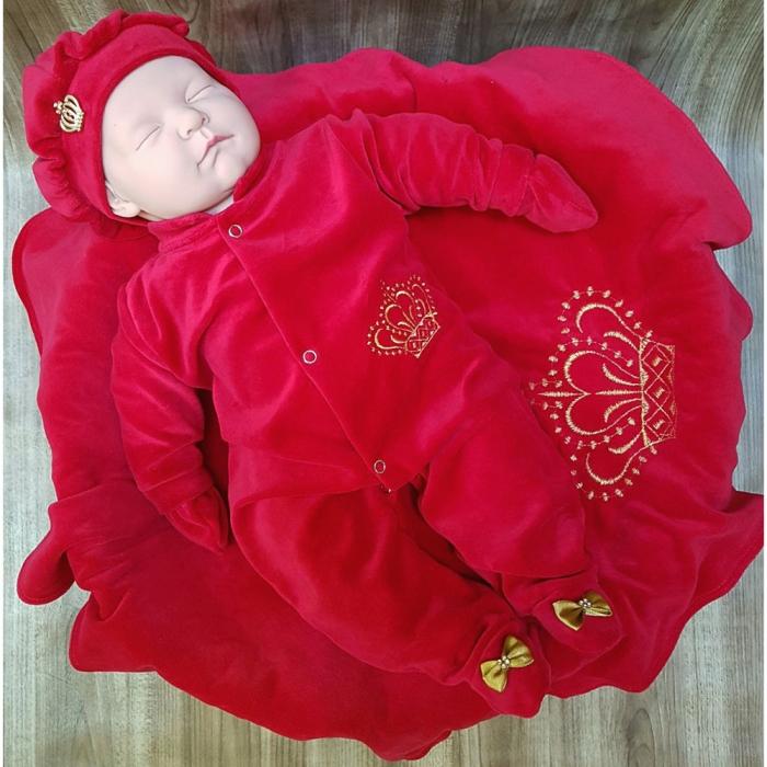 Saída de Maternidade Doce Sonho Coroa Vermelha Plush  447858ec6b9