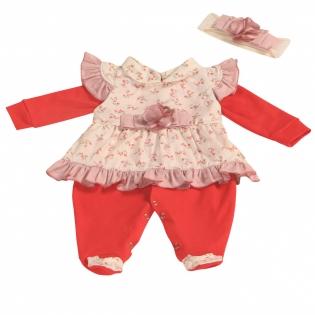c8ce993b0c Macacão Manga Longa com Vestido + Faixa de Cabelo Maria Vermelho